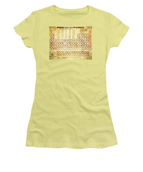 Periodic Table Of The Elements Vintage White Frame Women's T-Shirt (Athletic Fit)
