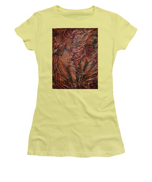 Women's T-Shirt (Junior Cut) featuring the painting Trumpets Aired by Dawn Fisher