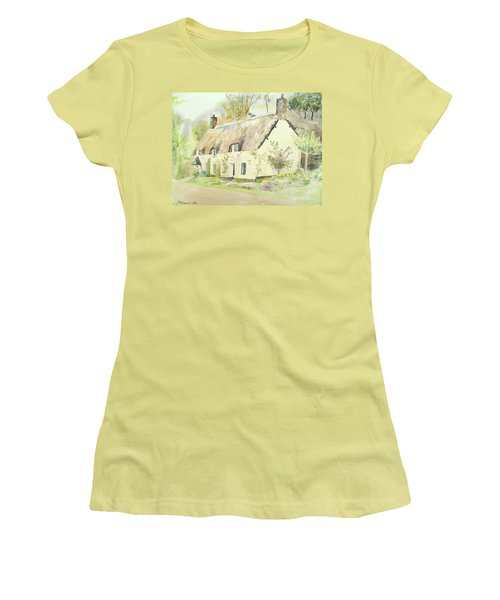 Picturesque Dunster Cottage Women's T-Shirt (Junior Cut) by Martin Howard