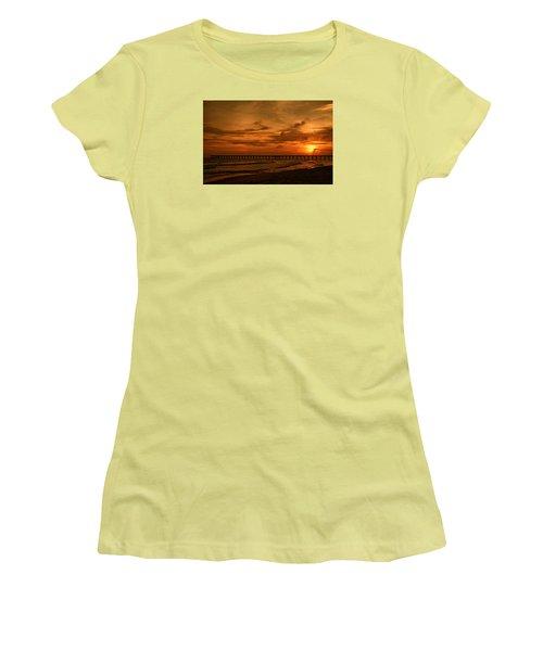 Pier At Sunset Women's T-Shirt (Junior Cut) by Sandy Keeton