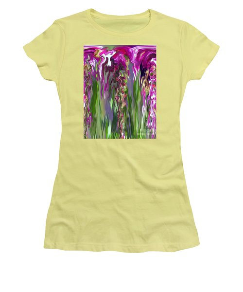 Pink And Green Floral Women's T-Shirt (Junior Cut) by Cedric Hampton