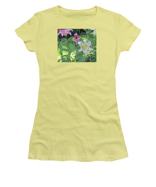 Pink And White Stargazer Lilies Women's T-Shirt (Athletic Fit)