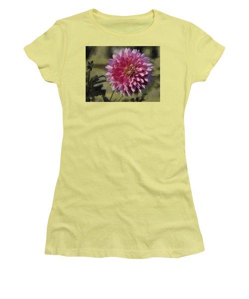 Women's T-Shirt (Junior Cut) featuring the painting Pink Dahlia by Jeff Kolker