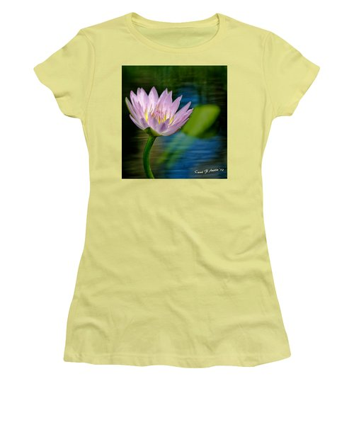 Purple Petals Lotus Flower Impressionism Women's T-Shirt (Athletic Fit)