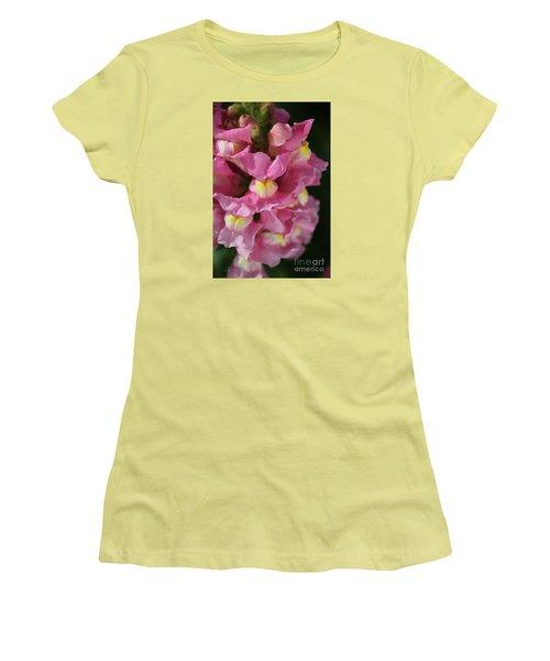 Pink Snapdragon Flowers Women's T-Shirt (Junior Cut) by Joy Watson