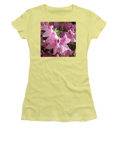 Pink Star Azaleas In Full Bloom Women's T-Shirt (Junior Cut) by Connie Fox