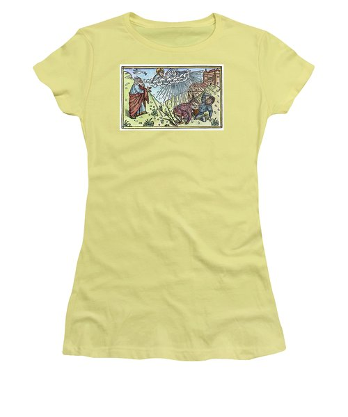 Women's T-Shirt (Junior Cut) featuring the painting Plague Of Hail by Granger