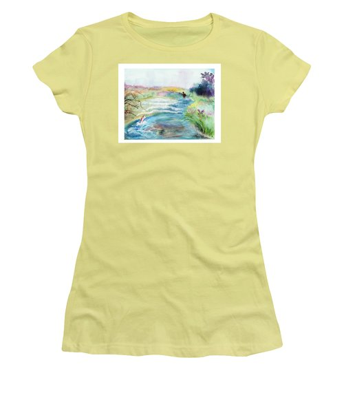 Women's T-Shirt (Junior Cut) featuring the painting Playin' Hooky by C Sitton