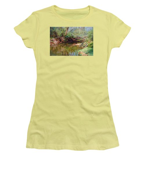 Women's T-Shirt (Junior Cut) featuring the painting Pleasure Of  The Enchanted Wolf by Svitozar Nenyuk