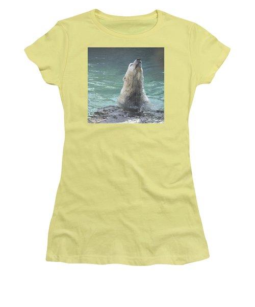 Polar Bear Jumping Out Of The Water Women's T-Shirt (Junior Cut) by John Telfer