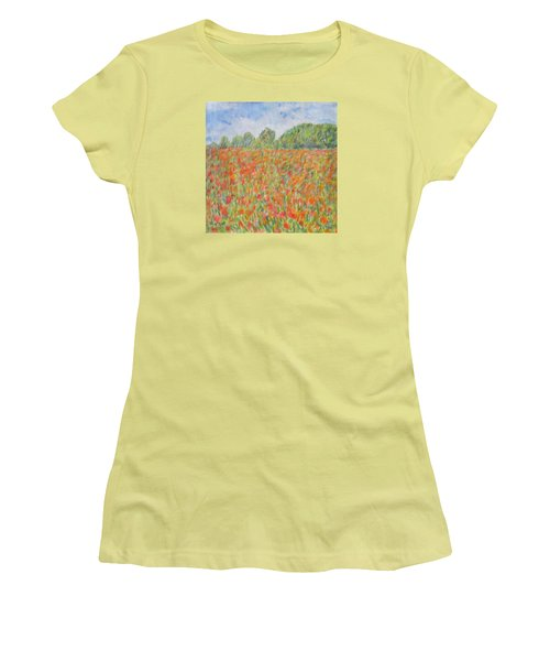 Poppies In A Field In Afghanistan Women's T-Shirt (Athletic Fit)