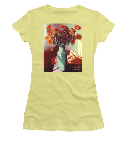 Poppies Women's T-Shirt (Junior Cut) by Marlene Book