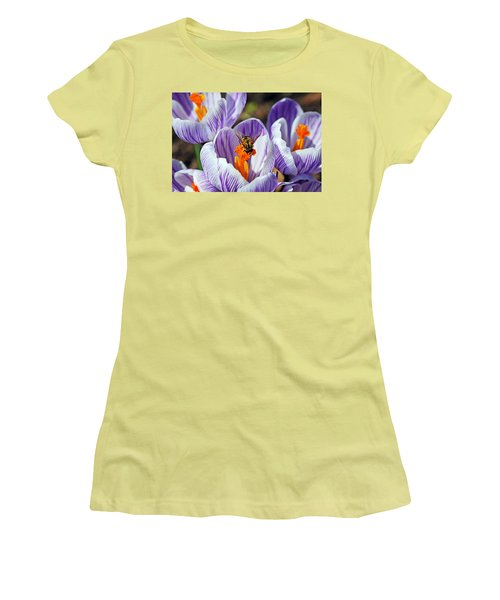 Women's T-Shirt (Junior Cut) featuring the photograph Popping Spring Crocus by Debbie Oppermann