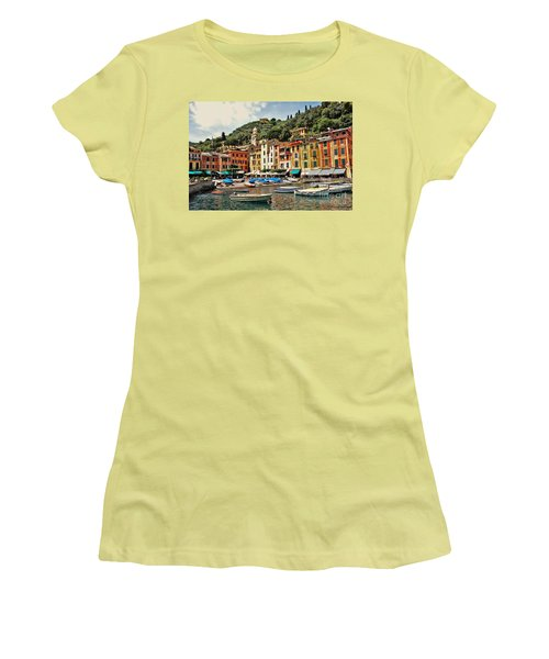 Portofino Harbor 2 Women's T-Shirt (Junior Cut) by Allen Beatty