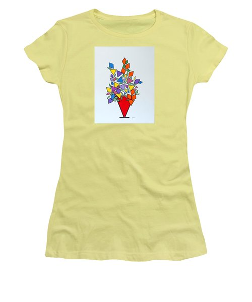 Potted Blooms Triangle Women's T-Shirt (Junior Cut) by Thomas Gronowski