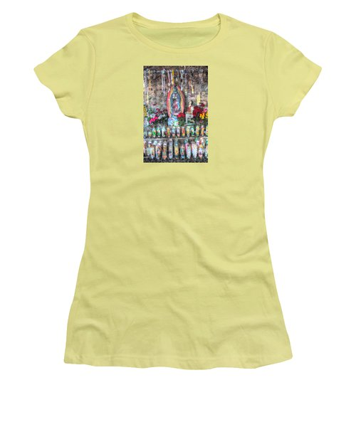Prayers To Our Lady Of Guadalupe Women's T-Shirt (Junior Cut) by Lanita Williams