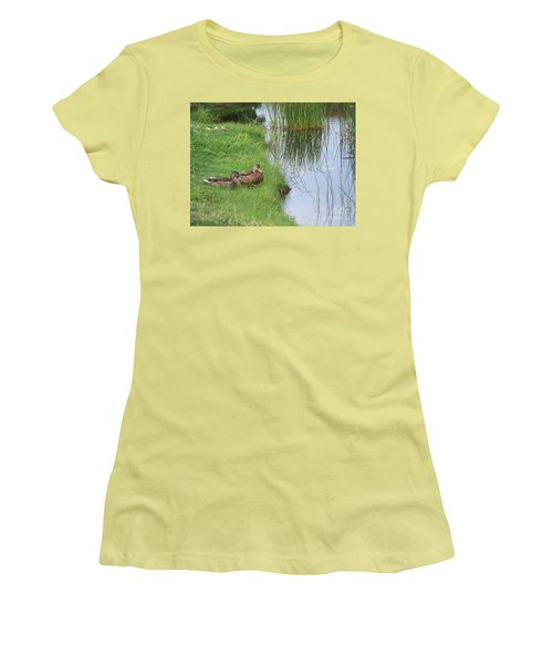Women's T-Shirt (Junior Cut) featuring the photograph Mated Pair Of Ducks by Eunice Miller