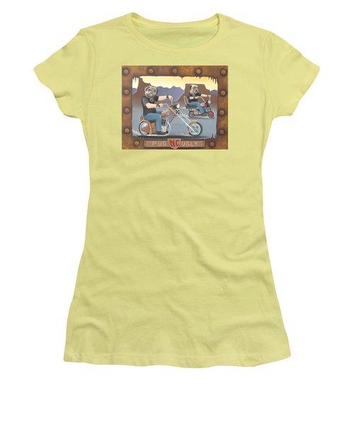 Pug Ugly M.c. Women's T-Shirt (Junior Cut) by Stuart Swartz