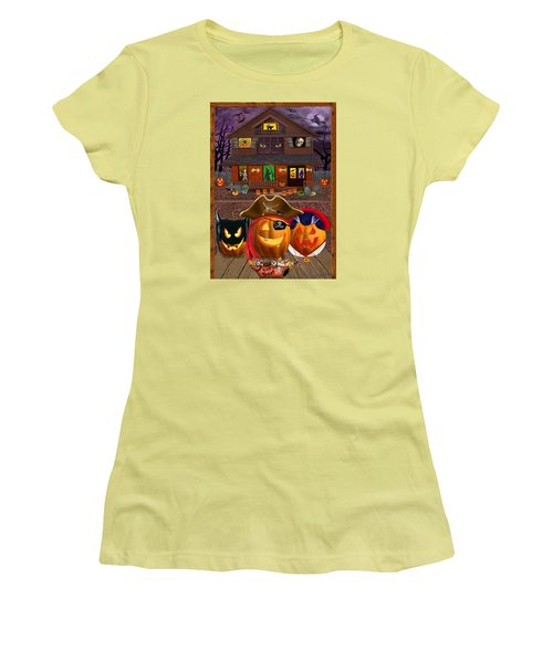 Pumpkin Masquerade Women's T-Shirt (Junior Cut) by Glenn Holbrook