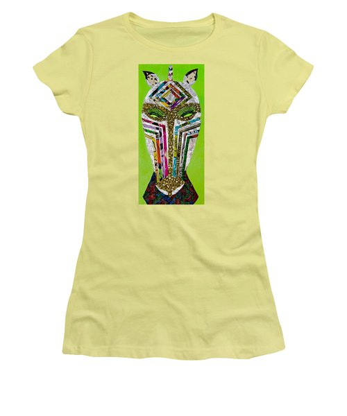 Women's T-Shirt (Junior Cut) featuring the tapestry - textile Punda Milia by Apanaki Temitayo M