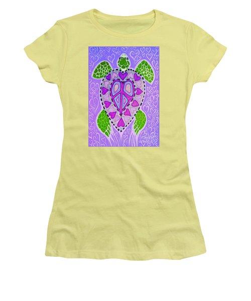 Purple Heart Turtle Women's T-Shirt (Junior Cut) by Nick Gustafson