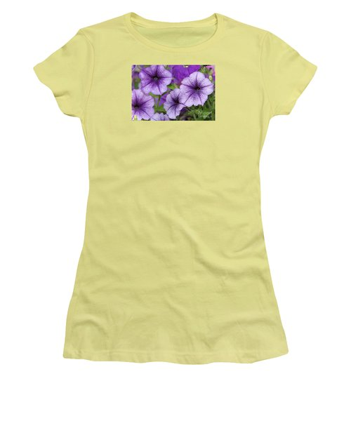 Purple Petunias Women's T-Shirt (Athletic Fit)