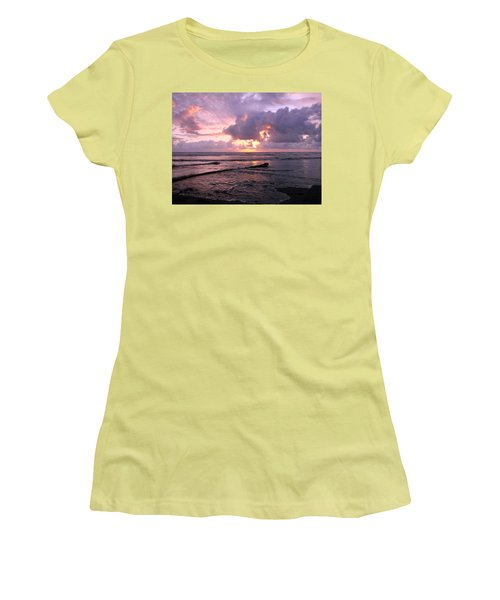Women's T-Shirt (Junior Cut) featuring the photograph Purple Pink Sunset by Athena Mckinzie