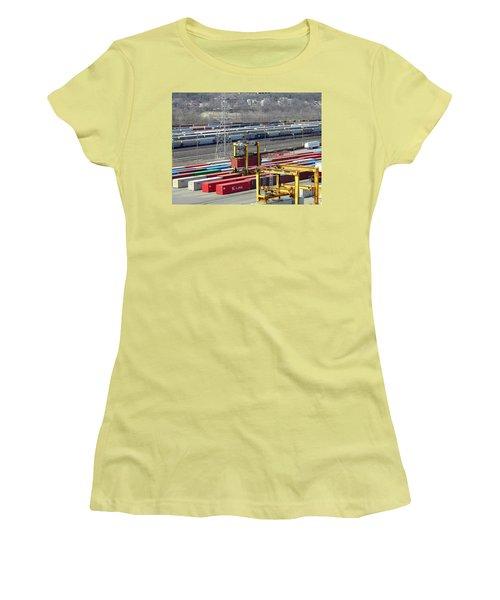 Women's T-Shirt (Junior Cut) featuring the photograph Queensgate Yard Cincinnati Ohio by Kathy Barney