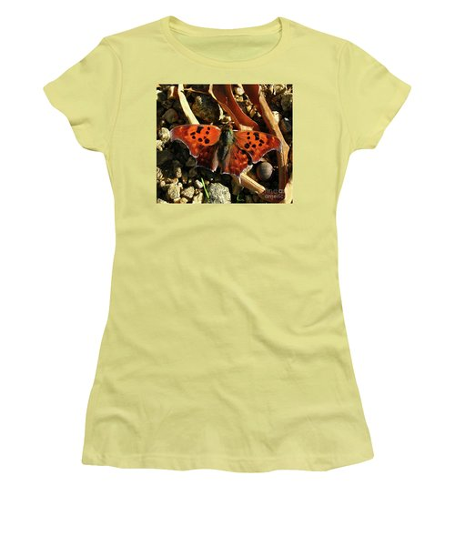 Women's T-Shirt (Junior Cut) featuring the photograph Question Mark Butterfly by Donna Brown