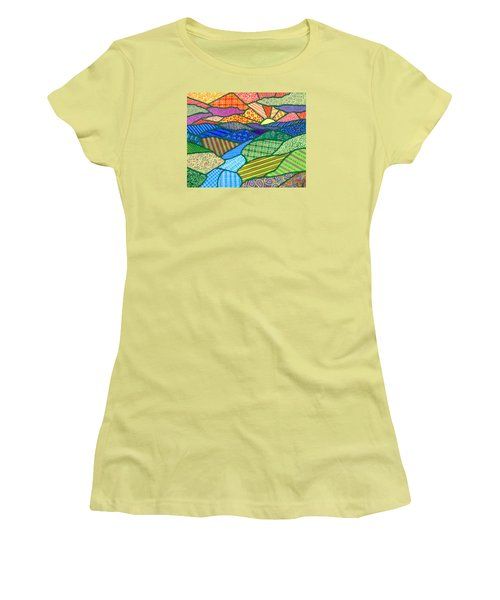 Quilted Appalachian Sunset Women's T-Shirt (Junior Cut) by Jim Harris