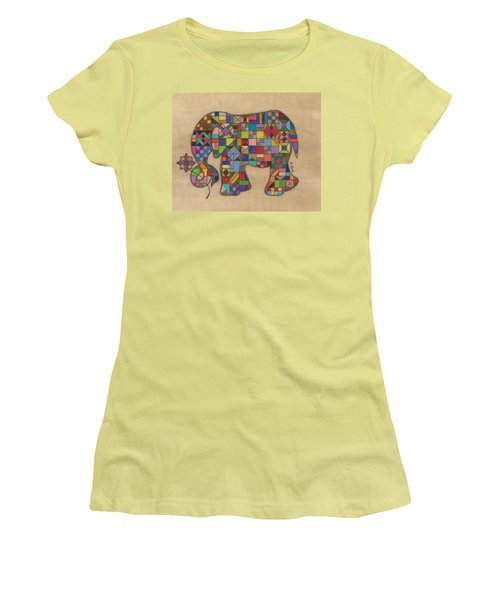 Quilted Elephant Women's T-Shirt (Athletic Fit)