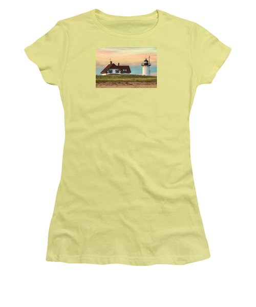 Race Point Light At Sunset Women's T-Shirt (Junior Cut) by Brian Caldwell