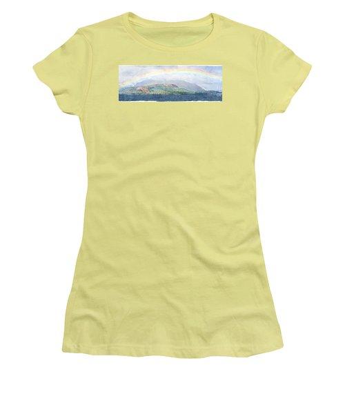 Rainbow Over The Isle Of Arran Women's T-Shirt (Junior Cut) by Liz Leyden