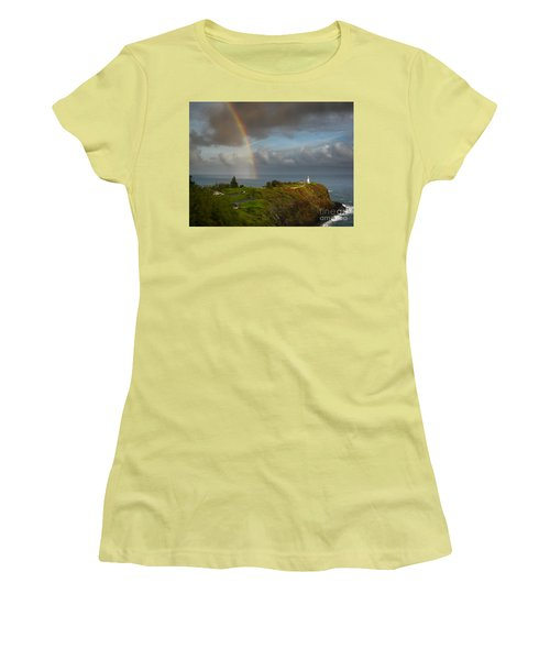 Rainbow Over Kilauea Lighthouse On Kauai Women's T-Shirt (Junior Cut)