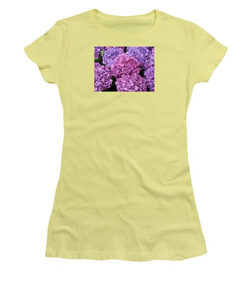 Women's T-Shirt (Junior Cut) featuring the photograph Rainy Day Flowers by Ira Shander