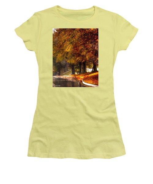 Women's T-Shirt (Junior Cut) featuring the photograph Rainy Day Path by Lesa Fine