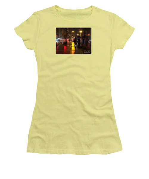 Rainy Night New York Women's T-Shirt (Junior Cut) by Miriam Danar