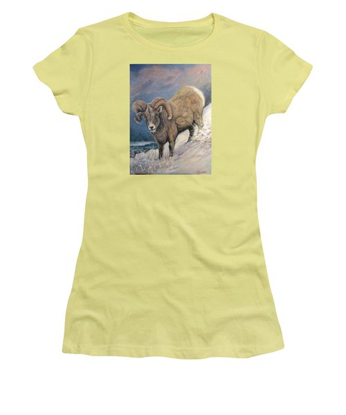 Women's T-Shirt (Junior Cut) featuring the painting Ram In The Snow by Donna Tucker