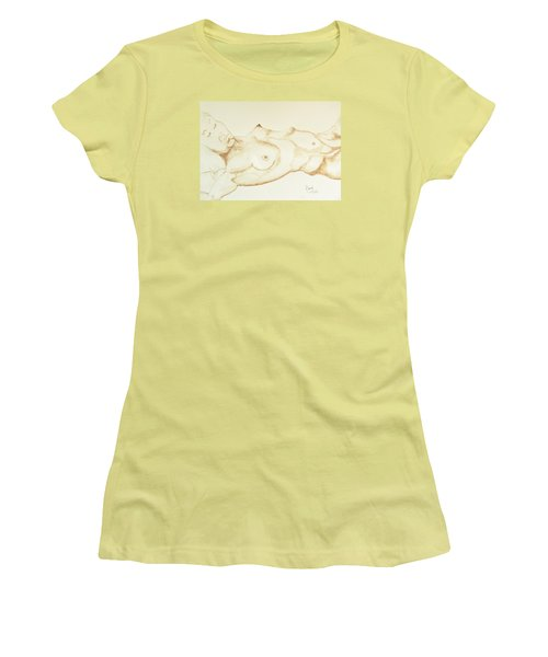 Women's T-Shirt (Junior Cut) featuring the drawing Reclining Nude In Walnut Ink by Rand Swift