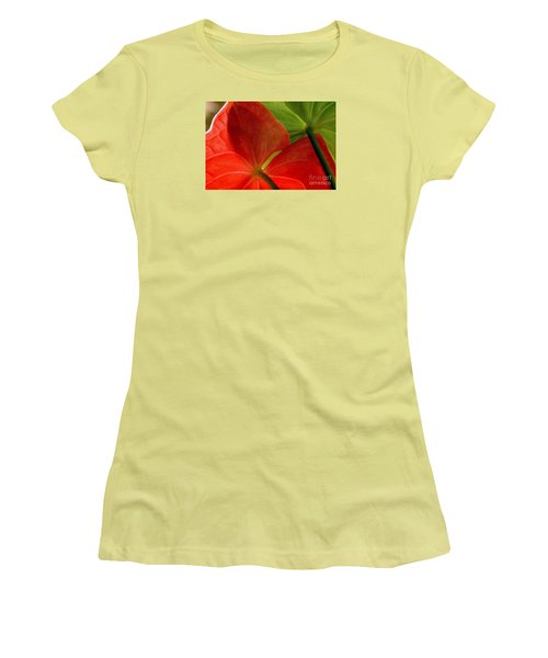 Red And Green Anthurium Women's T-Shirt (Athletic Fit)