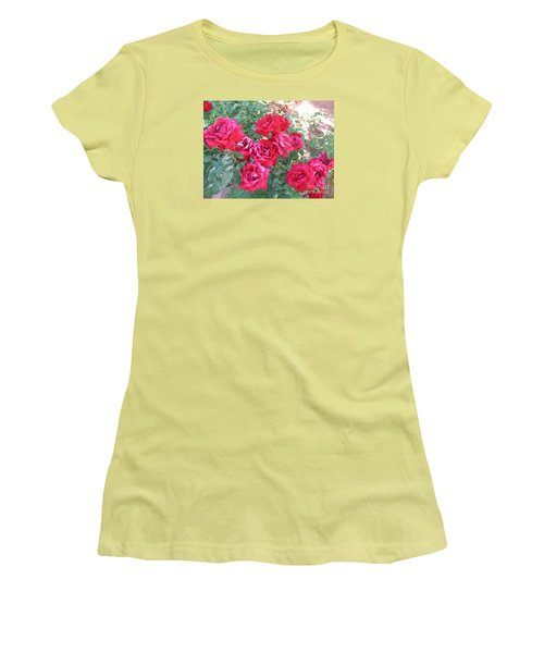 Women's T-Shirt (Junior Cut) featuring the photograph Red And Pink Roses by Chrisann Ellis