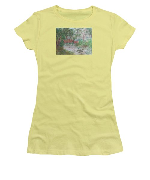 Red Bridge At Wollongong Botanical Gardens Women's T-Shirt (Junior Cut) by Pamela  Meredith