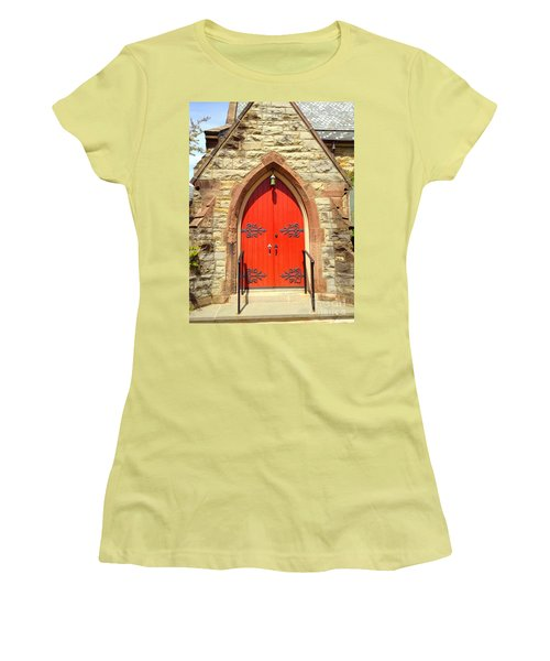 Women's T-Shirt (Junior Cut) featuring the photograph Red Church Door by Becky Lupe