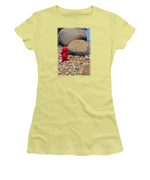 Women's T-Shirt (Junior Cut) featuring the photograph Red Fire Hydrant On Rocky Hillside by Ella Kaye Dickey