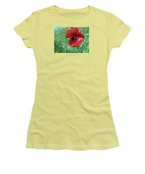 Women's T-Shirt (Junior Cut) featuring the photograph Red Poppy by Vesna Martinjak