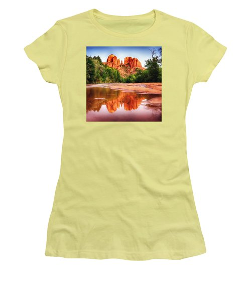 Red Rock State Park - Cathedral Rock Women's T-Shirt (Junior Cut) by Bob and Nadine Johnston