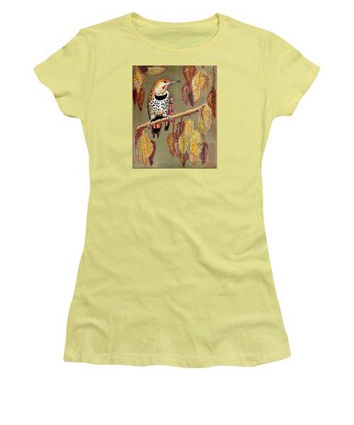 Red Shafted Flicker Women's T-Shirt (Junior Cut) by VLee Watson