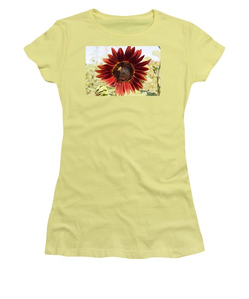Red Sunflower And Bee Women's T-Shirt (Junior Cut) by Kerri Mortenson