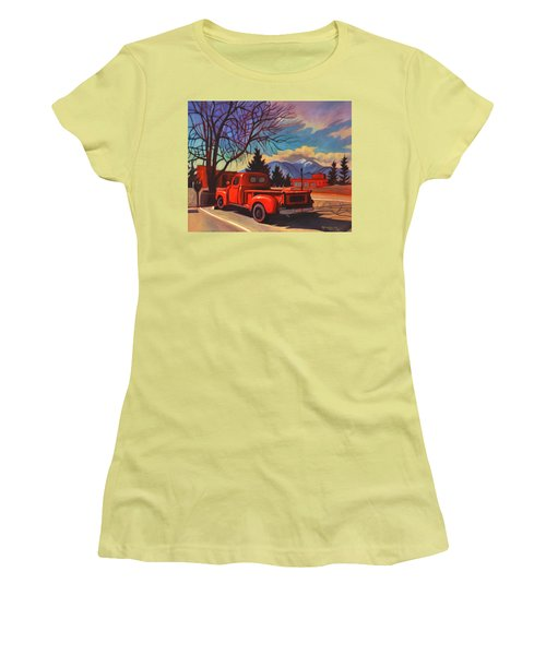 Women's T-Shirt (Junior Cut) featuring the painting Red Truck by Art James West