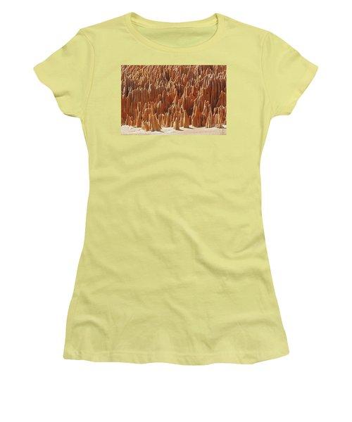 red Tsingy Madagascar 1 Women's T-Shirt (Junior Cut) by Rudi Prott